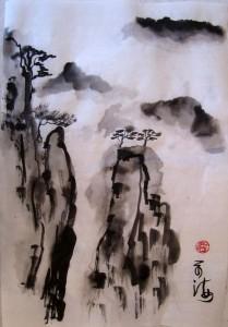 Елена Касьяненко, гохуа, китайская живопись, китайская живопись, Ученики, обучение китайской живописи, пейзажи, горы-воды