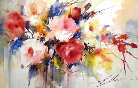 По сырому акварель цветы