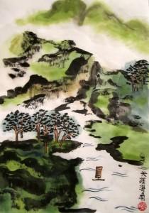 Елена Касьяненко, гохуа, пейзажи, горы-воды, обучение рисованию, цветные пейзажи, китайская живопись