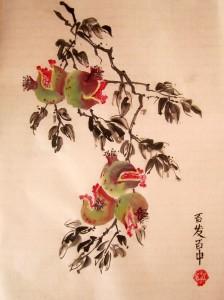 Елена Касьяненко, китайская живопись, обучение рисованию, гранаты, персики, се-и, гохуа, цветы и птицы, Школа живописи У-Син