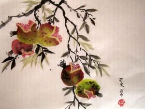 Елена Касьяненко, китайская живопись, обучение рисованию, гранаты, персики, се-и, цветы и птицы, Школа живописи У-Син