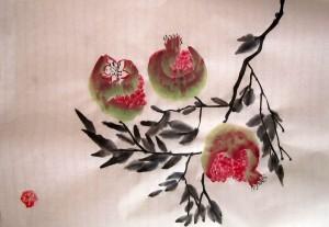 Елена Касьяненко, китайская живопись, обучение рисованию, гранаты, персики, се-и, цветы и птицы, Школа живописи У-Син, гохуа