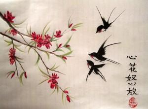 Елена Касьяненко, китайская живопись, се-и, цветы и птицы, розы, ласточки, цветущий персик, обучение рисованию