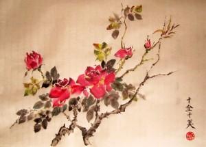 Елена Касьяненко, китайская живопись, се-и, цветы и птицы, розы, ласточки, цветущий персик, обучение рисованию, работы учеников