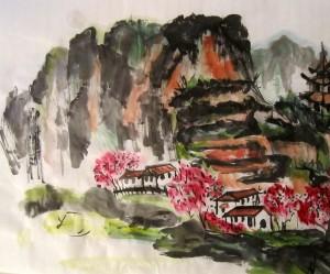 Елена Касьяненко, китайская живопись, гохуа, горы-воды, пейзажи, обучение рисованию, работы учеников