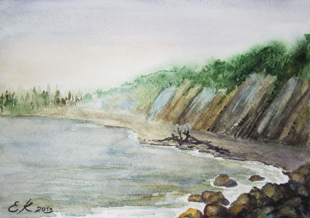 Как рисовать морской пейзаж акварелью