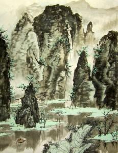 Елена Касьяненко, китайская живопись, гохуа, горы-воды, пейзаж, обучение рисованию