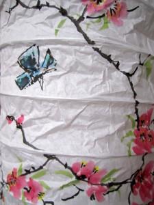 Елена Касьяненко, роспись торшера, мастер-класс, цветущий сад, китайская живопись, цветущий персик, бабочки