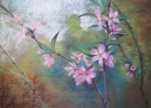 Елена Касьяненко, маастер-класс, пастель, цветущий миндаль, обучение рисованию с нуля