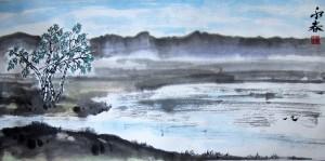 Русский пейзаж. Елена Касьяненко, китайская живопись, мастер-класс, гохуа, се-и