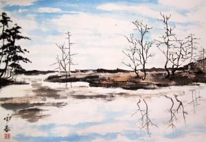 Елена Касьяненко, весна, китайская живопись, мастер-класс, гохуа, русский пейзаж