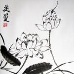 Лотосы и стрекоза. Елена Касьяненко, китайская живопись, гохуа, обучение китайской живописи