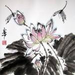 Лотосы и стрекозы,  Елена Касьяненко, китайская живопись, обучение китайской живописи