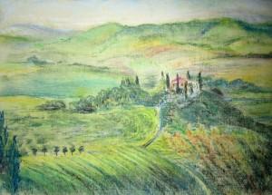 итальянский пейзаж, тосканский пейзаж, пастель, работы учеников, мастер-класс