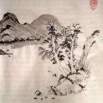 китайский пейзаж, гохуа, китайская живопись, горы-воды, обучение рисованию, работы учеников