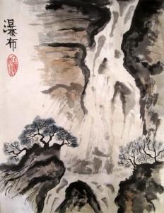 гохуа, обучение рисованию, горы-воды, китайская живопись, водопады, работы учеников