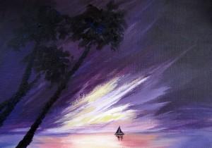 Рассвет. Елена Касьяненко, мастер-класс, пейзаж, акрил, мастер-класс по живописи