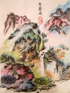 китайская живопись, пейзаж, горы-воды, обучение рисованию