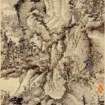 Wang_Meng_Dwelling_in_the_Qingbian_Mountains._ink_on_paper._1366._141x42,2_cm._Shanghai_Museum