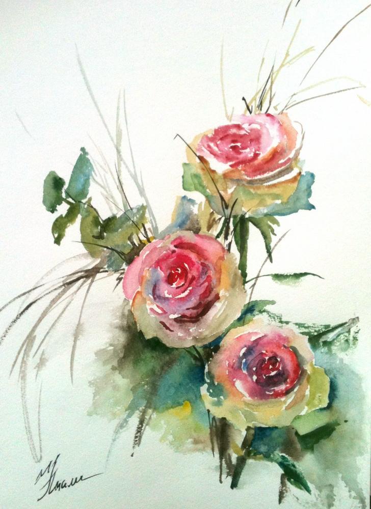 Видео цветы акварелью